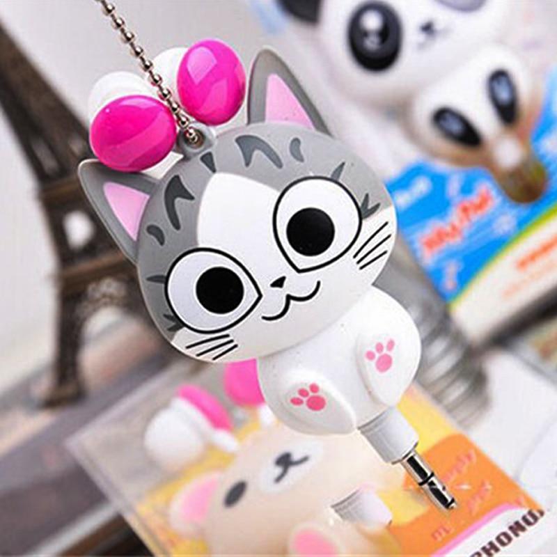 Cute Cat Ears In-Ear Earphones Cartoon Panda Sweet Home  Universal Retractable Automatic 3.5mm Headset for Phone MP3 Gfits