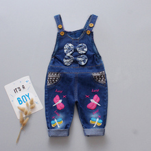 DIIMUU Kids Fashion Girls Denim Overalls Jeanpants Casual Children Clothing Long Trousers Cute Suspender Pants For 1-3 Years