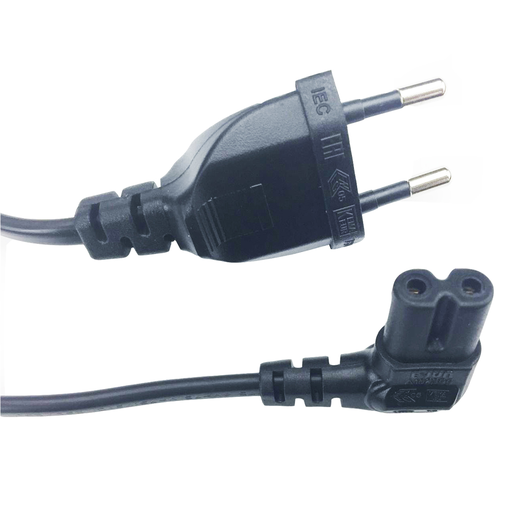 Image 2 - 3M 5M Angled EU power cable 2 Prong Pin Power Supply Cord AC plug to angled figure 8 C7 plug 10ft 15ft for PS4,TV,DVD etc.-in Computer Cables & Connectors from Computer & Office
