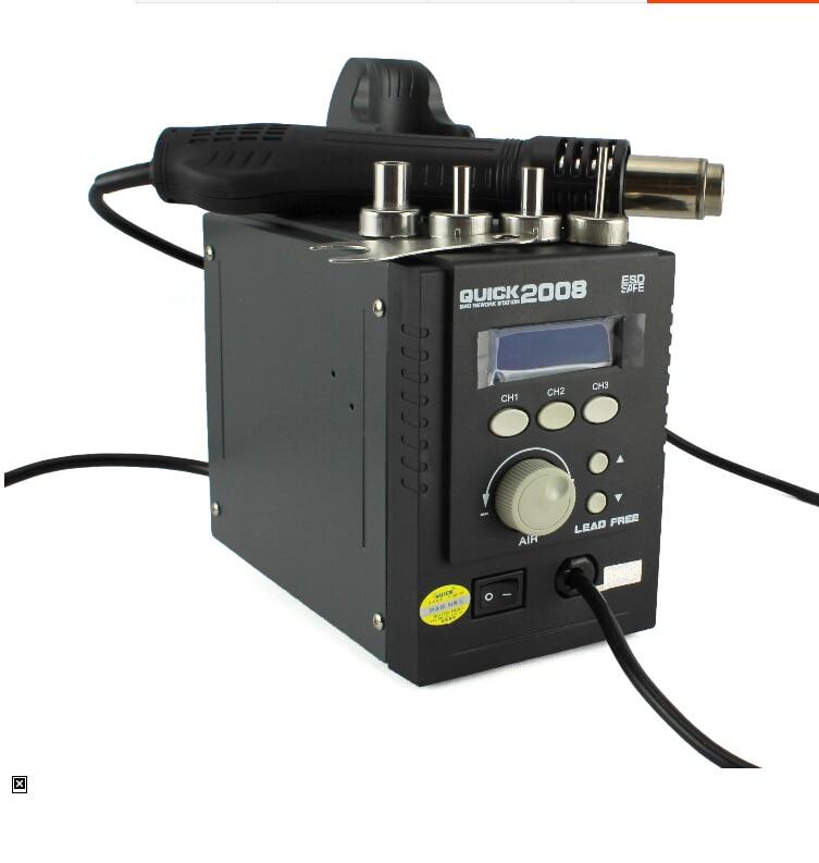 NEW 220V BGA Rework Soldering Iron Thermostat Digital LCD Hot Air Gun soldering station QUICK 2008 ESD Store Temperature