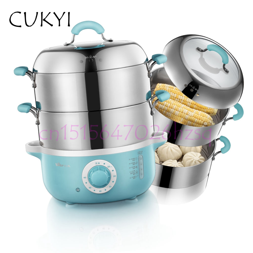 CUKYI Electric Food Steamer Large capacity 2 layers household Multi-function 304 Stainless steel Smart Timing steamer cukyi 1l mini rice cooker 220v lunch box 2 double layers stainless steel multi function food warmer egg steamer cooking