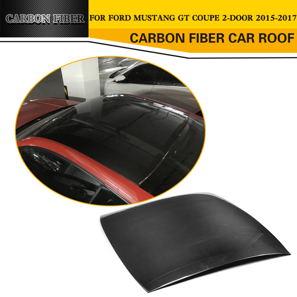 Car Styling Carbon Fiber Racing Roof Cover Trim for Ford Mustang Coupe 2-Door 2015-2017 partol black car roof rack cross bars roof luggage carrier cargo boxes bike rack 45kg 100lbs for honda pilot 2013 2014 2015