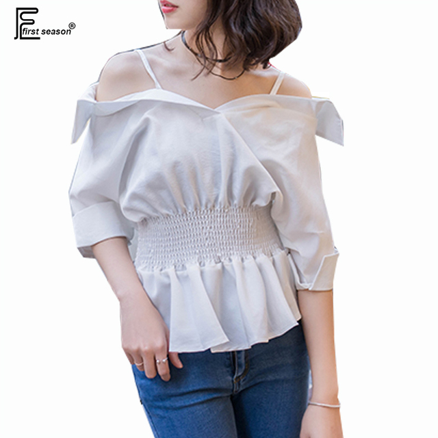 2e3563a959c678 Off Shoulder Tops New Hot Sale Korean Designer Fashion Women Summer Casual  Blouse Peplum Top Cute Sweet Ladies Sexy White Shirts