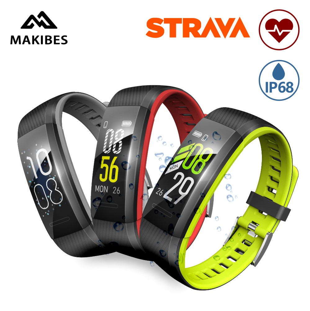 US $24 99 50% OFF|3 28 Makibes SR1 STRAVA men's Bracelet IP68 Waterproof  Smart Band Heart Rate Monitor Call Reminder for xiaomi huawei apple band-in
