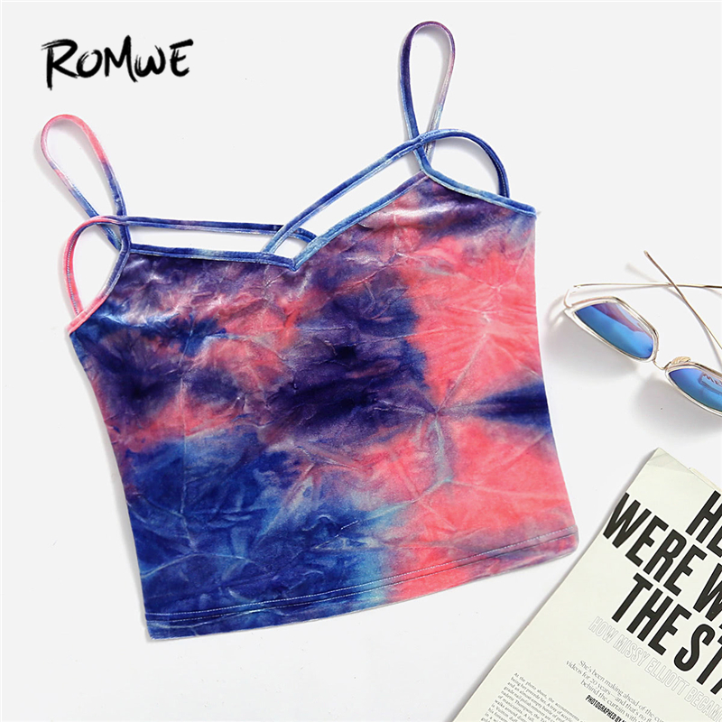 ROMWE Tie Dye Strappy Velvet Sexy Crop Top Summer V Neck Criss Cross Women Tops 2018 Holiday Slim Spaghetti Strap Camis