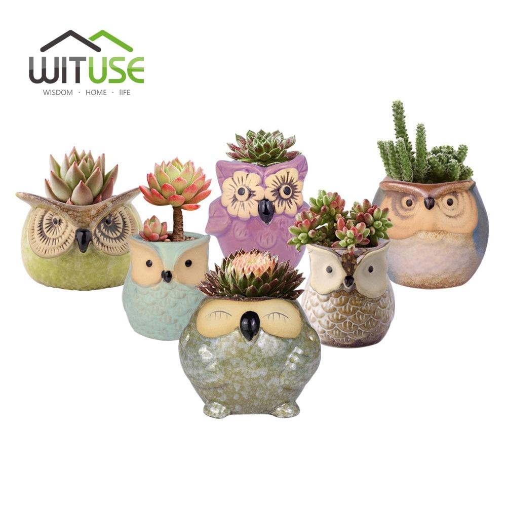 Wituse owl flower pot ceramic glazed plants pots for 6 ceramic flower pots
