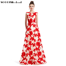 SOCCI Fin de Semana 2017 de Noche Largo Vestido Bordado de Flores Piso-Longitud Sujetador Incorporado Prom Vestidos de Partido formal de La Boda vestidos de robe