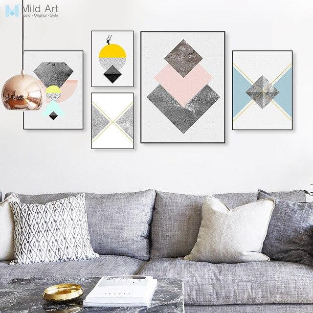 modern nordic abstract geometric texture shape big wall art poster