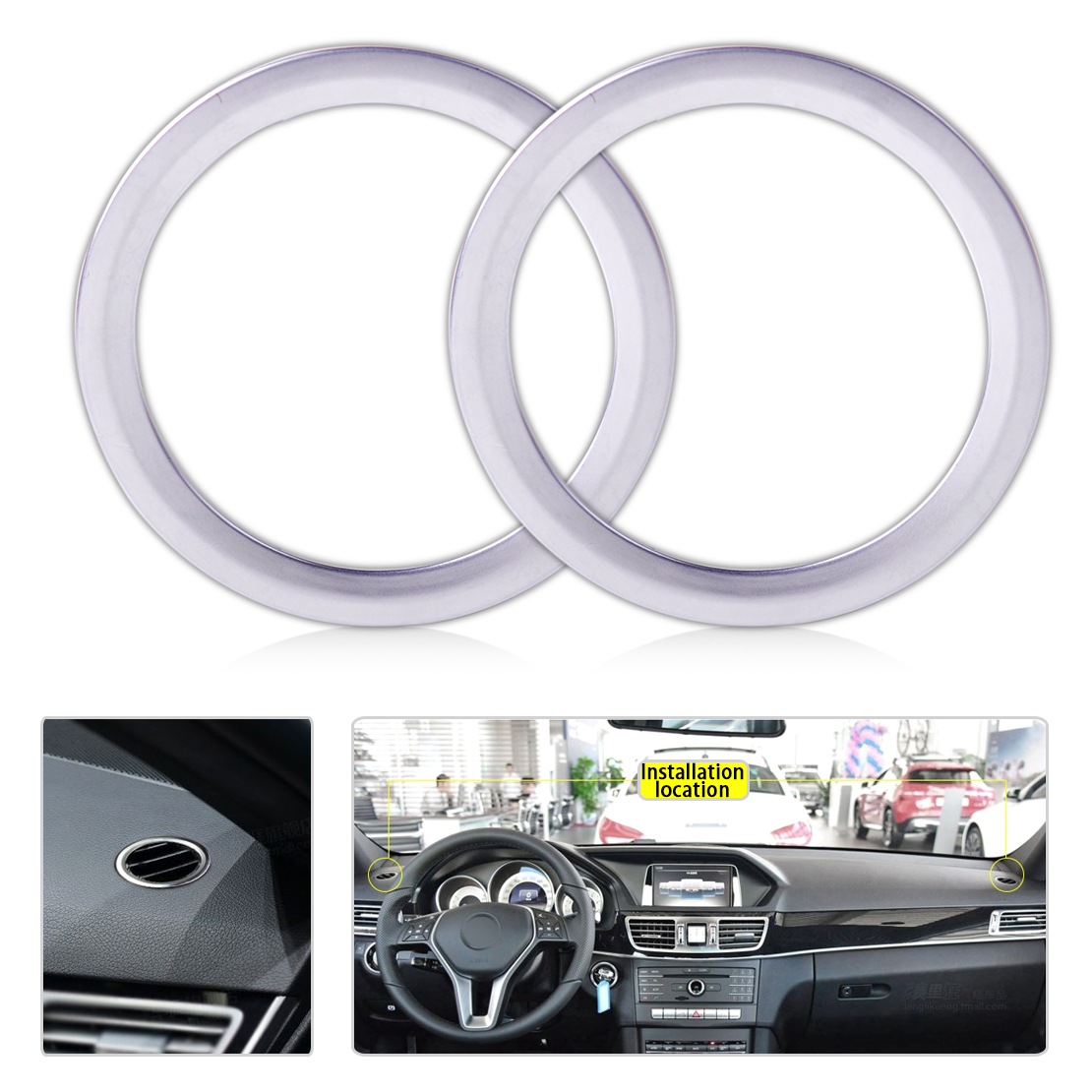 beler New Chrome Plated Interior AC Air Vent Outlet Trim Cover Ring for <font><b>Mercedes</b></font> Benz B-Class <font><b>W246</b></font> B180 <font><b>B200</b></font> 2012 2013 2014 2015 image