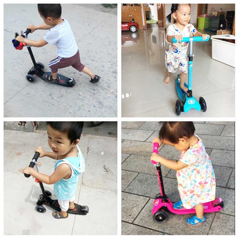 Bayi Bersinar Anak-anak Scooter 3 Roda Mobil Lipat Yang Dapat Dilepas Tinggi Disesuaikan Anak-anak Scooter dengan Flash Wheel Anti-Skid Mainan