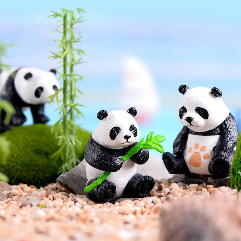 4PCS Panda Ornaments Figurines Miniature Garden Bonsai Decoration Micro Landscape Ornament Garden Decor PVC Micro Figurines