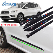 smRKE Car-styling 4pcs High Quality Brand New Side Doors Rubber Bumper Protector Guard Scratch Sticker Trim For Ford Vehicle