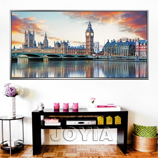 Large city canvas prints wall art london architecture reflection paintings on canvas city skyline painting calligraphy