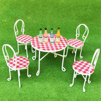 Doub K 1:12 dollhouse Miniature Furniture toy white & red Country style metal table sets pretend play toys for girls doll dolls