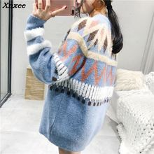 Xnxee Winter Women Cashmere Sweaters Pullovers Knitted Thick Female Lose Casual Warm Pullover Jumpers