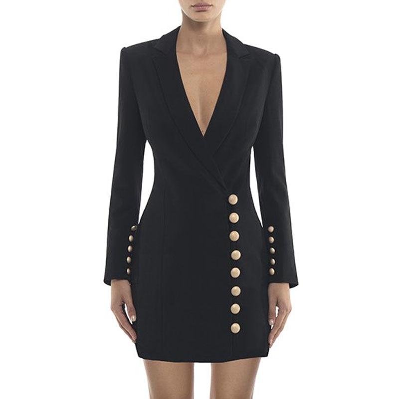 Mode Bouton V Formelle Noir Dame Manches Pour Beateen À De Femmes Unique 2018 Costumes blanc Blazers Cou Nouveau Longues qwFRxvEzx