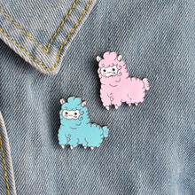 Cute Pink Blue Sheep Brooches Cartoon Brooch Badges Lapel Clothes Bag Pin Kawaii Jewelry for Girls Women Accessories