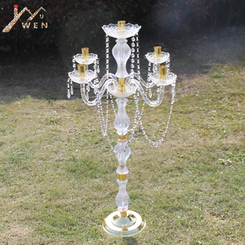 90 cm Height Acrylic 5-arms Metal Candelabras With Crystal Pendants Wedding Candle Holder Centerpiece Party Decor