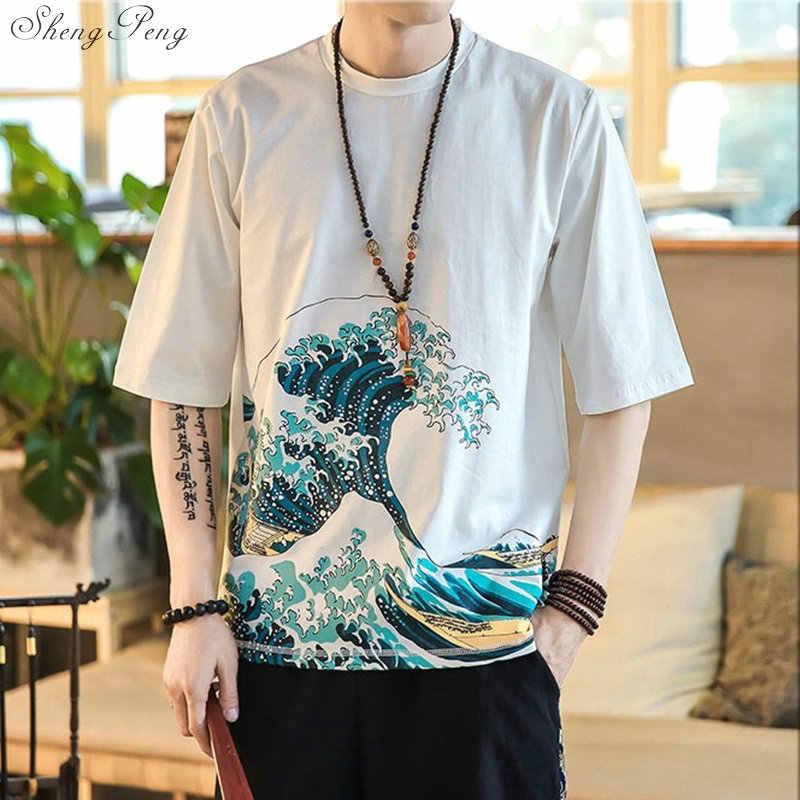Китайское кимоно костюм для мужчин Летний стиль Китайская традиционная рубашка с коротким рукавом традиционная китайская одежда для мужчин Q698