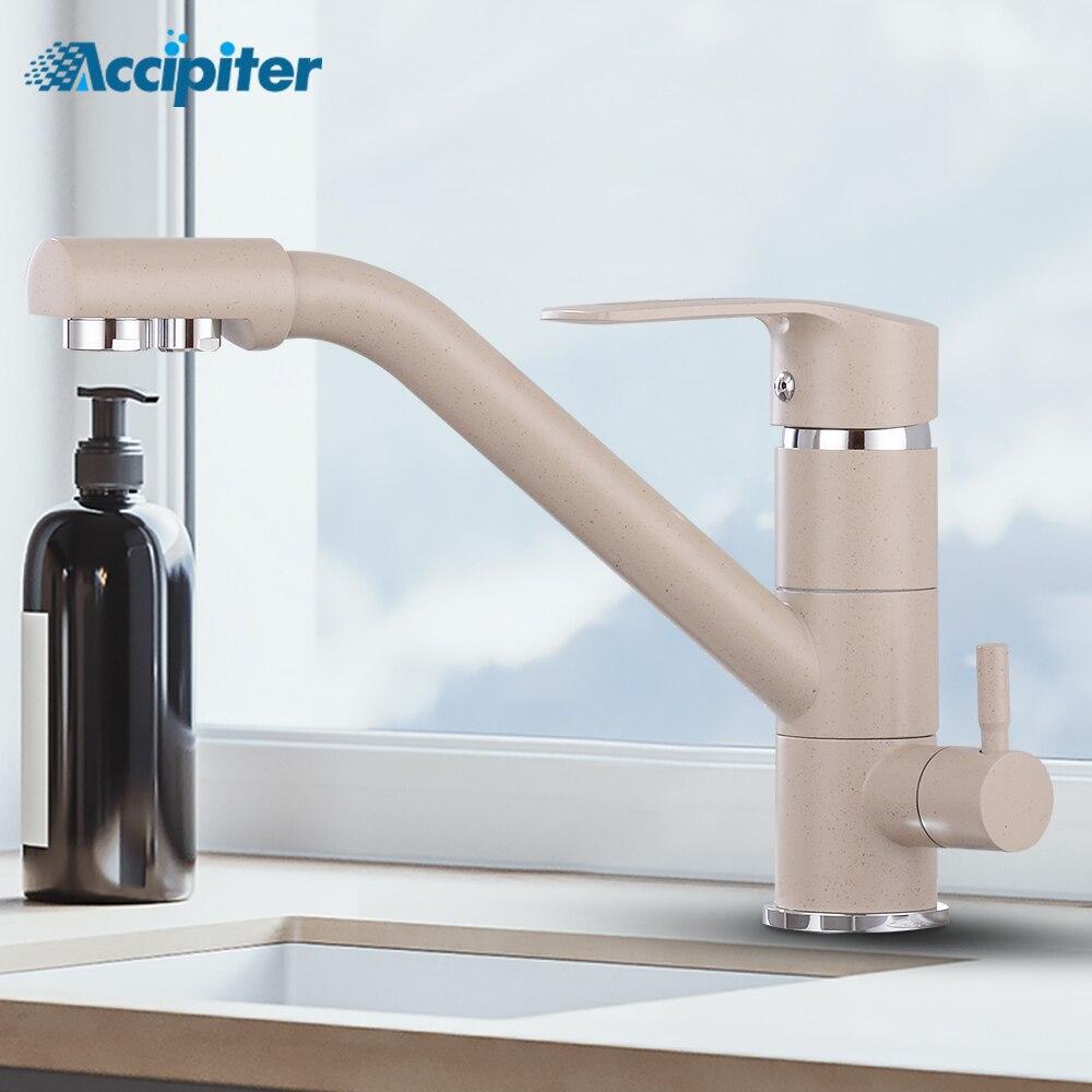 Torneira da cozinha Filtro de Água Purificador de Beber Da Torneira Dupla Bico Torneiras de Cozinha Giratória Vessel Sink Toque Mixer quente e fria