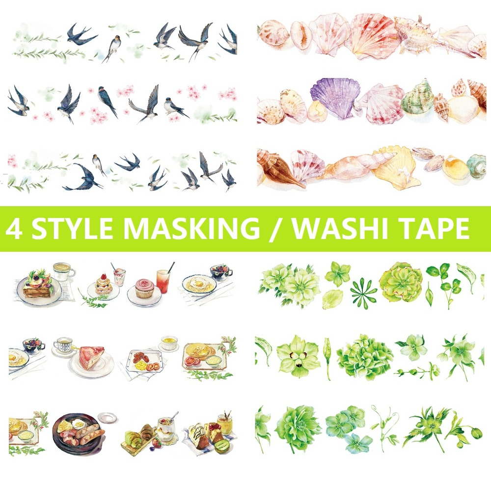 4 Design Swallow Birds/Flowers/Shells/Leaves Japanese Washi Tape Decorative Adhesive DIY Masking Paper Tape Gift Diary Stickers