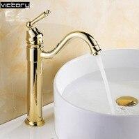 Ванной кран золото одной ручкой на одно отверстие античная смесители бассейна ванная комната судно смесители раковина масло втирают бронз...
