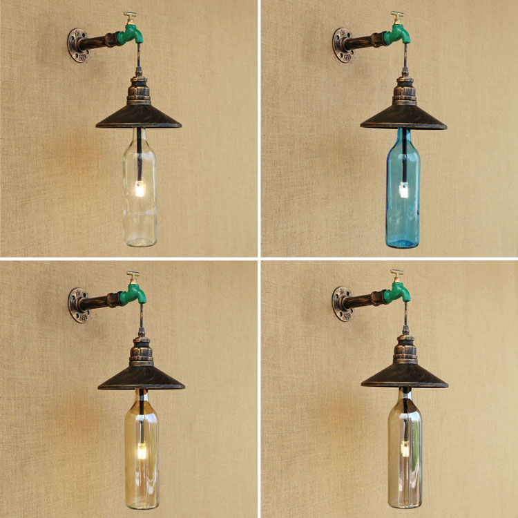 American Glass Bottle Wall Lamp Retro Country Loft Style LED lamps Industrial Vintage Iron wall light for Bar Cafe Home Lighting led spotlights american vintage loft pendant light iron led lamp e27 spotlight mercantile lighting for bar cafe