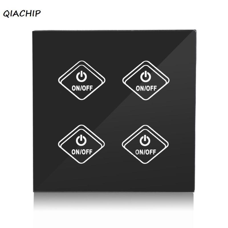 QIACHIP UK Plug 4CH Wall Wifi Light Switch Glass Panel Touch LED Lights Switch for Smart Home Wireless Remote Switch Control H3 uk 1gang dimmer led touch switches black crystal glass panel light wall switch remote smart home 220v 110v free shipping