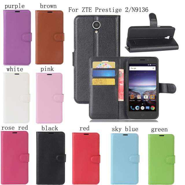 PIERVES high quality 9 colors PU skin Mobile Phone leather case For ZTE Prestige 2 Prestige2 N9136 Bag Case Cover Shield Shell
