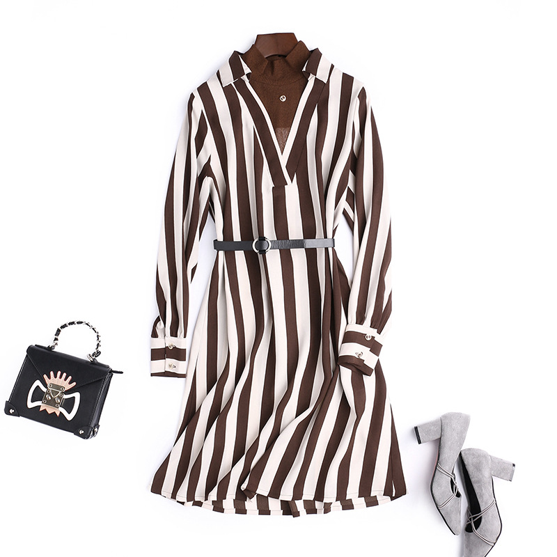 2018 printemps automne nouvelle mode col rond à manches longues rayé robe kaki noir bureau dame OL travail porter élégance tenue décontractée