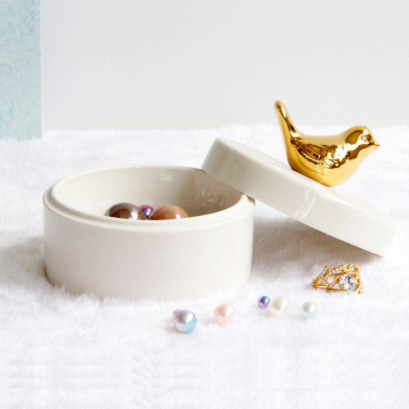 Storage-Box Jewelry Home-Decoration-Organizer Ceramic Ring-Dressing-Storage Candy European