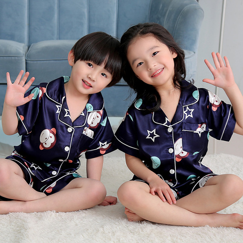 Summer Children Short Pajamas Sets 2019 Cute Silk Sleepwear Girls Short Kids Pijamas Boy Short Top and Pant Print Kids Pajamas 1