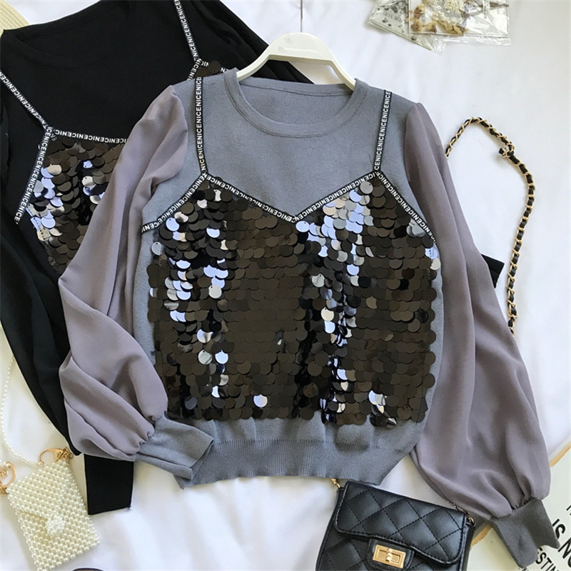 Grace Lentejuelas Camisa Mujeres Dos Nueva white Brillante grey Blusa Blusas Piees Moda 69261 Las Otoño De Primavera 2019 Cartas Falsa Neploe Impresión Elegante Black xSqnI875