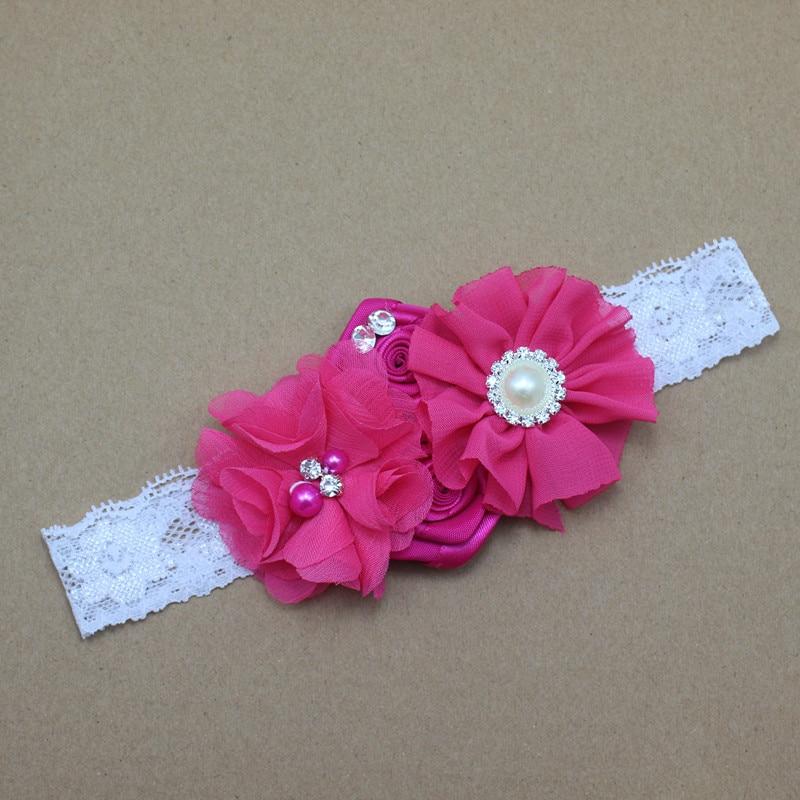 Baby Stirnband Spitze Blumen mit Perlen und Strass Mädchen Chiffon Blumen Stirnband Baby Mädchen Kinder Haarschmuck