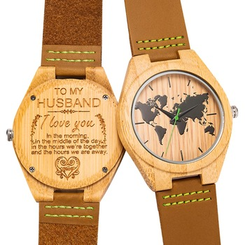 Engraved Wooden Men Wood Bamb Watch for Husband Son Natural Bamboo Customized Wood Watch Birthday Anniversary Gift Drop Shipping
