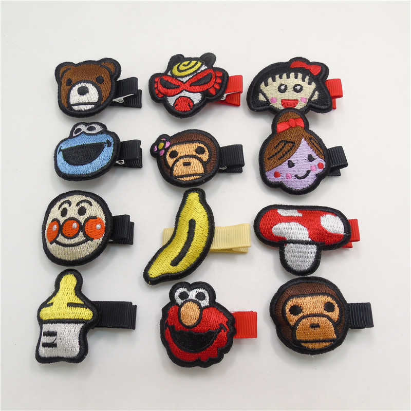 Girls' Clothing Methodical 24pc/lot Embroidery Monkey Hair Clip Banana Bear Cartoon Kid Hairpin Milk Box Girl Barrette Cute Animation Hair Grip Clown Pinch
