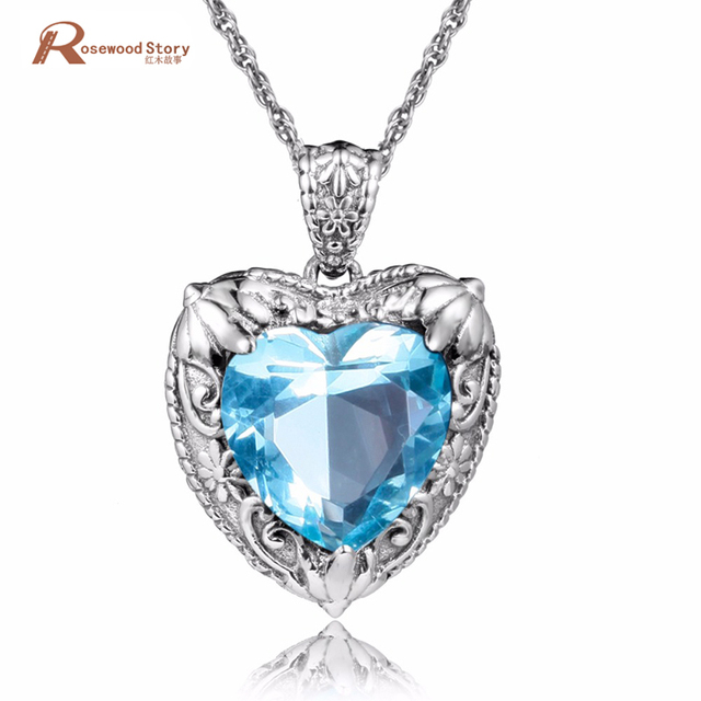 Fashion Retro Punk 925 Sterling Silver Crystal Sky Blue CZ Stone Pendant Necklace Jewelry Vintage Wedding