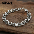 100% Genuine 925 Sterling Silver Vintage Punk Link Chain Bracelet Thai Silver Jewelry for Man or Women Jewelry 11mm