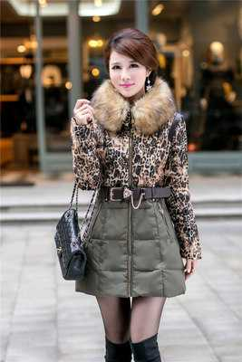ФОТО Winter Jacket Women Casaco Feminino Leopard Parka Slim Thick Coat Outwear Hooded Wadded Fur Collar Women Winter Jackets A3948