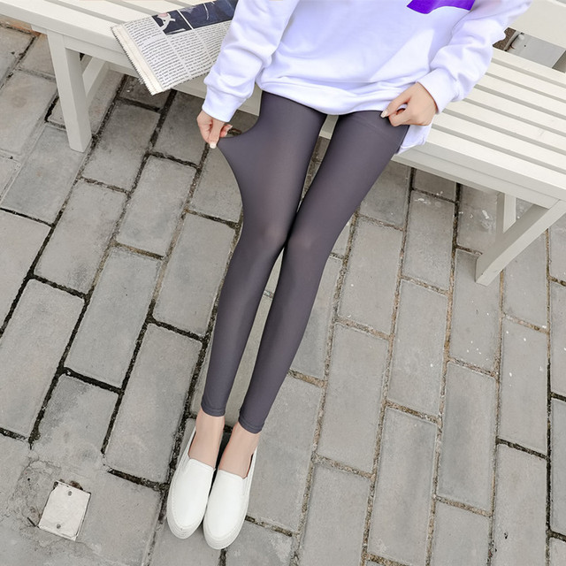 New 2018 Summer Women Leggings Ice silk Plaid Thin Slim Elasticity Pant Legging Casual Solid Women's Plus Size Leggins Clothings