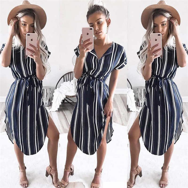 2019 Summer Women Dress Striped Office Pencil Dress Batwing Short Sleeve Tunic Bandage Bodycon Beach Party Dress Leisure Vestido
