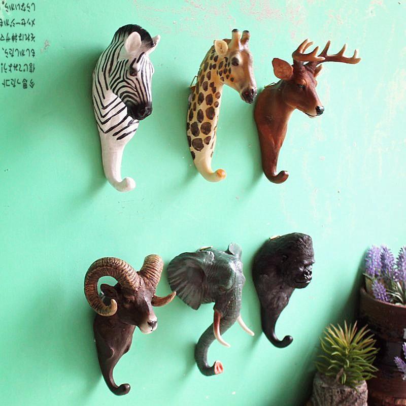 Animal Head Hook Clothes Robe Key Holder Hat Hanger Wall Decoration Deer Elephant Zebra Giraffe Designs Retro Wall Ornament (7)