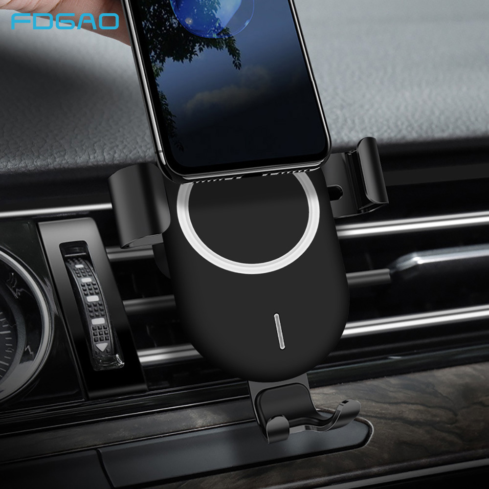 FDGAO 10W Qi Car Wireless Charger For iPhone Xs Max XR X Samsung S9 S8 Note 9 8 Fast Wirless Charging Car Air Vent Phone Holder