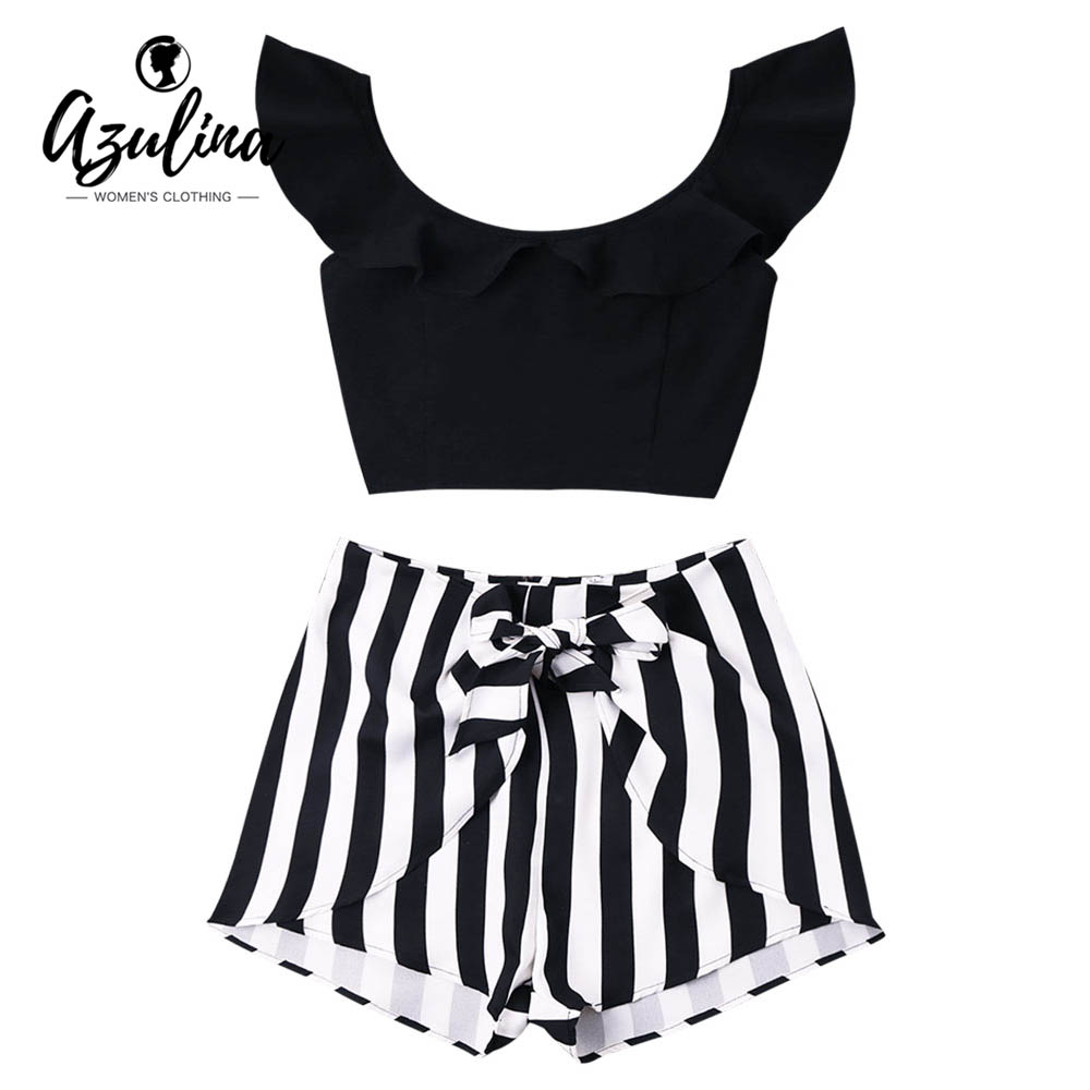 AZULINA Flounce Crop Top And Striped Shorts Beach Summer 2pcs Women'S Set Cropped Top High Waist Mini Shorts 2018 Causal Sets