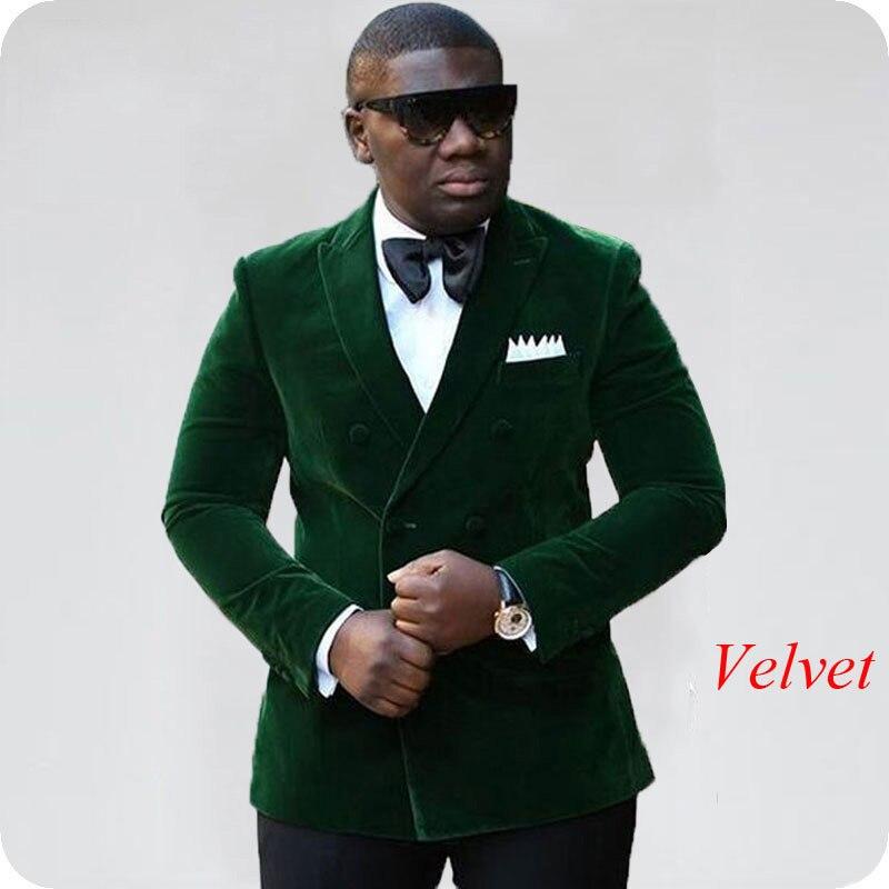 Green Velvet Mens Classic Suits Wedding Smoking Jacket Groom Tuxedo Groomsmen Blazer Slim Terno Masculino 2piece Costume Homme