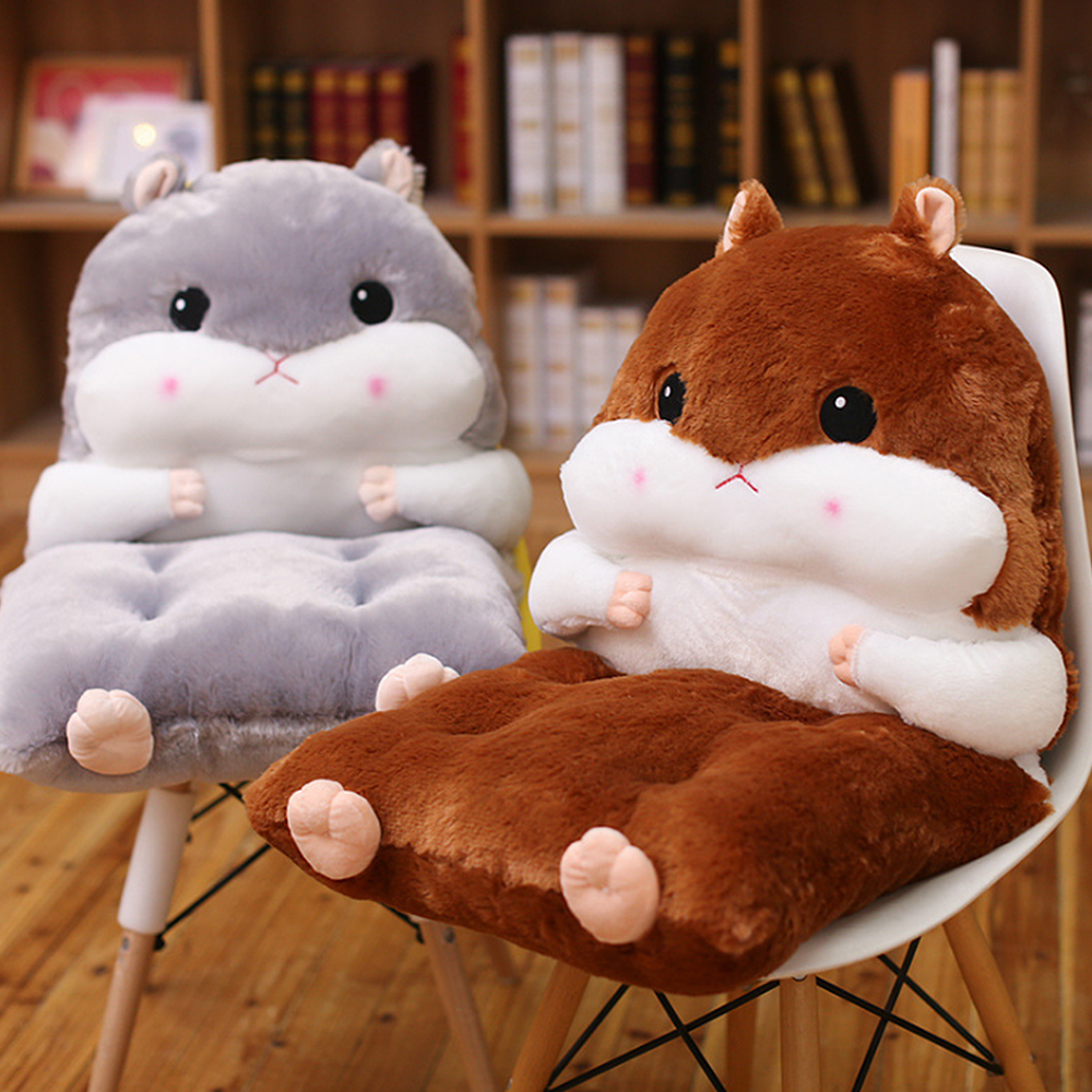 Cute One-piece Detachable Hamster Back Cushion Cute Chair Pad Mat Pillow Hand Warmer Decoration Gift