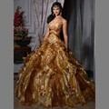 Retro Spaghetti Strap Old Gold Quinceanera Dresses 2016 A-line Floral Applique Ruffle Pageant Gown Vestidos de debutante 15 anos