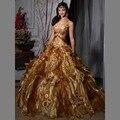 Retro Velho Ouro Quinceanera Vestidos 2016 A Linha de Spaghetti Strap Floral Applique Ruffle Pageant Vestido Vestidos de debutante 15 anos