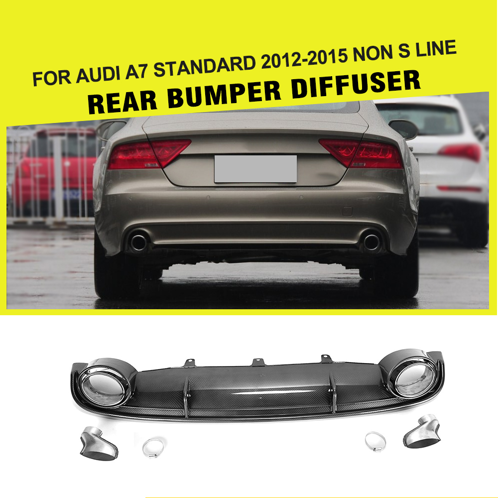 A7 Fake Carbon Fiber Rear Diffuser Lip With Auto Exhaust