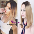 Two Tones Dark Roots Light Brown Ombre Wigs Bob Hairstyles Shoulder Length Silk Straight Synthetic Lace Front Wig Heat Resistant
